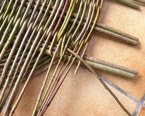 Ce plateau est réalisé, avec la technique zarzo, en cornouiller sanguin. Il nécessite: - 8 morceaux de 60 cm et 7-8 mm de diamètre pour les montants. - 40 tiges de 140-160 cm et 5 mm de diamètre pour l'entrelacement. - 4 tiges fines de 100 cm pour le...