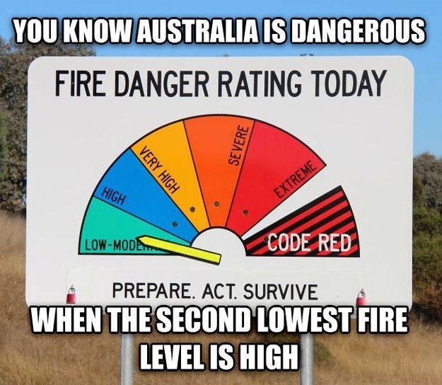 On fire danger: