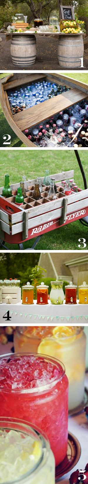 awesome ideas for outdoor drink displays for weddings, bbq, barbeque, picnics and parties.--ideas