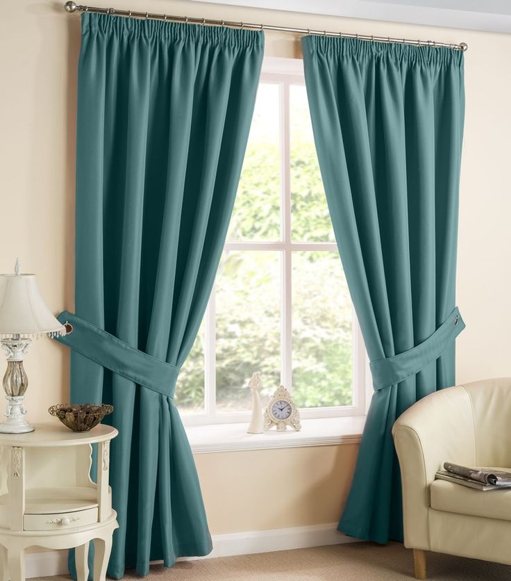 Brazil Teal Herringbone Pencil Pleat Tape Top Curtains by Homemaker | Ready Made Curtains | Pencil Pleat Curtains