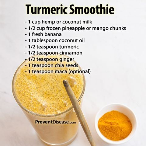 "Tumeric smoothie: anti-cancer, anti-inflammatory, plus more. I'm going to give this a try just as soon as I figure out what ""maca""is!"