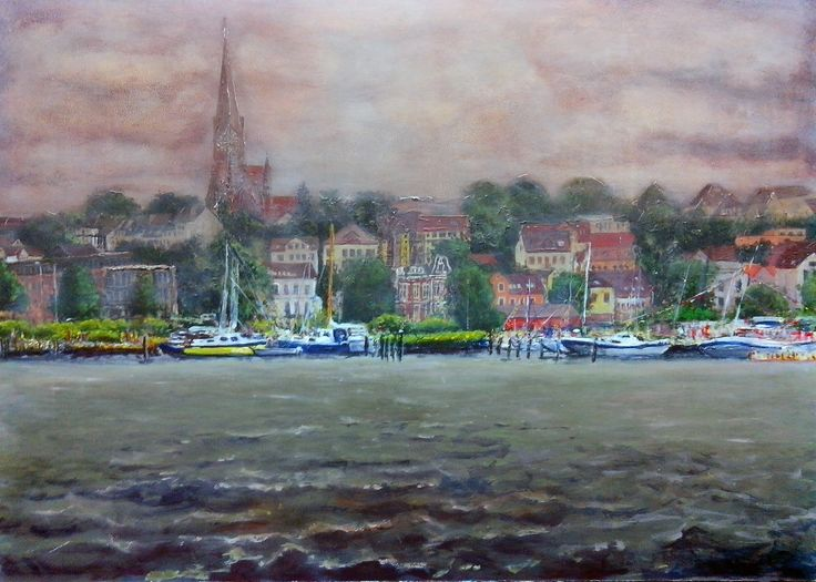 Flensburg From Water I, Acryl on board,  70 x 100 cm, 2015 Making-of: https://youtu.be/0g-42eYAAsE All pictures at: http://www.atelier-jhw.de/