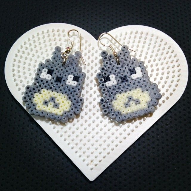Totoro hama mini bead earrings by montse_akane