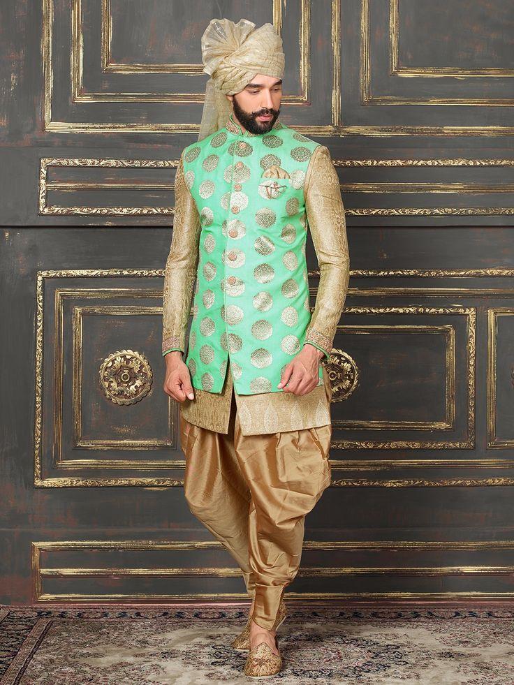 Green Beige Silk Indo Western