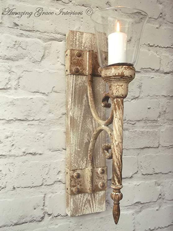French Shabby Chic Wall Sconce Candle Holder Antique Vintage