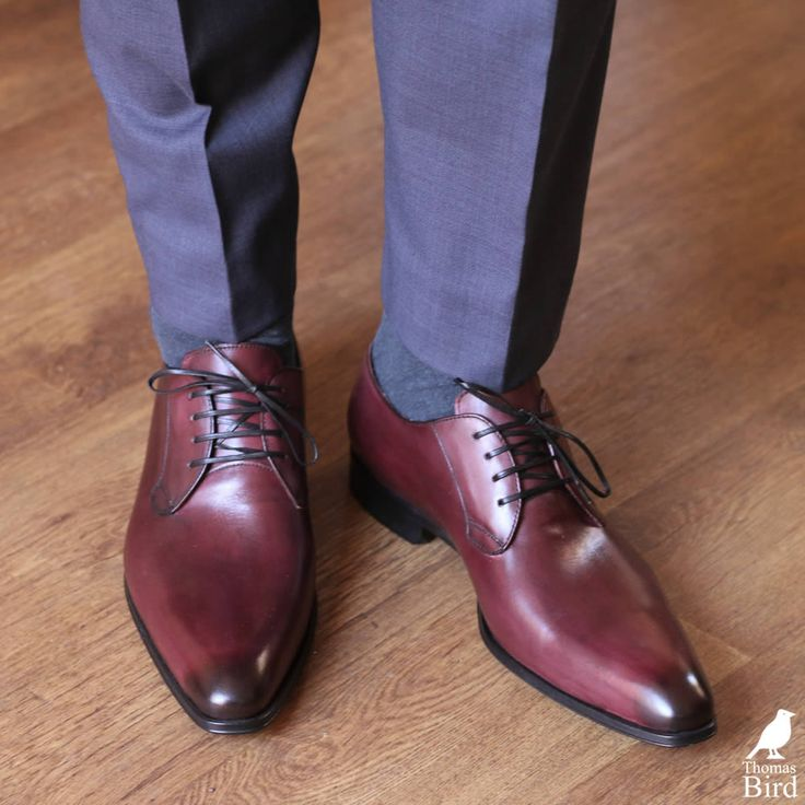 Oxblood shoes pair well with light blue trousers