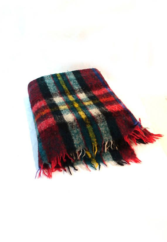 Vintage 1970s Italian wool Royal Plaid combed wool red green
