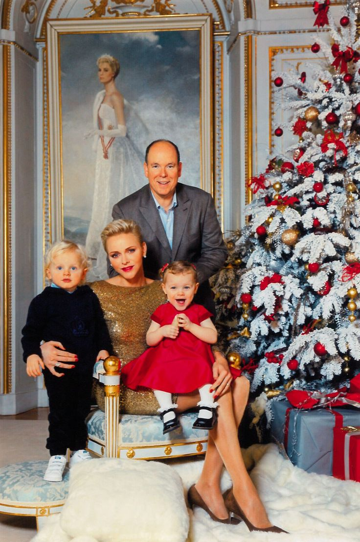 Monaco's Royal Family Christmas card for 2016. Prince Albert, Princess Charlene and twins Prince Jacques and Princess Gabriella posed in front of a portrait of Prince Albert's mother, the late Princess Grace.