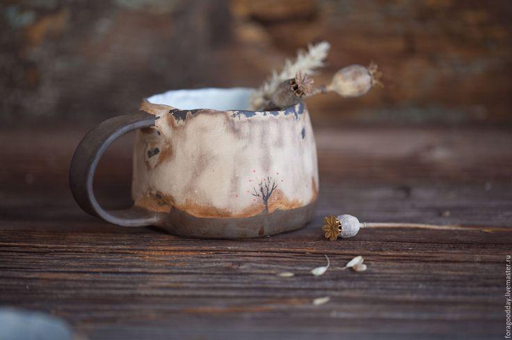 Купить Керамическая кружка с осенней яблоней - бежевый, кружка, чашка, яблоня, дерево, ручная лепка