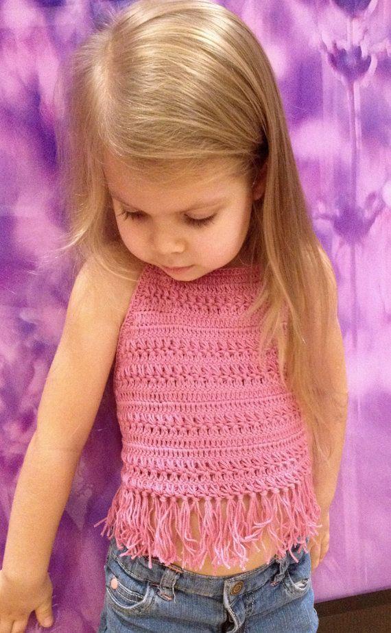 Crochet kids top Ruffled pink toddler crop top Open back