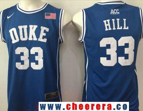 Men's Duke Blue Devils #33 Thomas Hill Royal Blue Round Collar College Basketball Stitched Nike Swingman Jersey