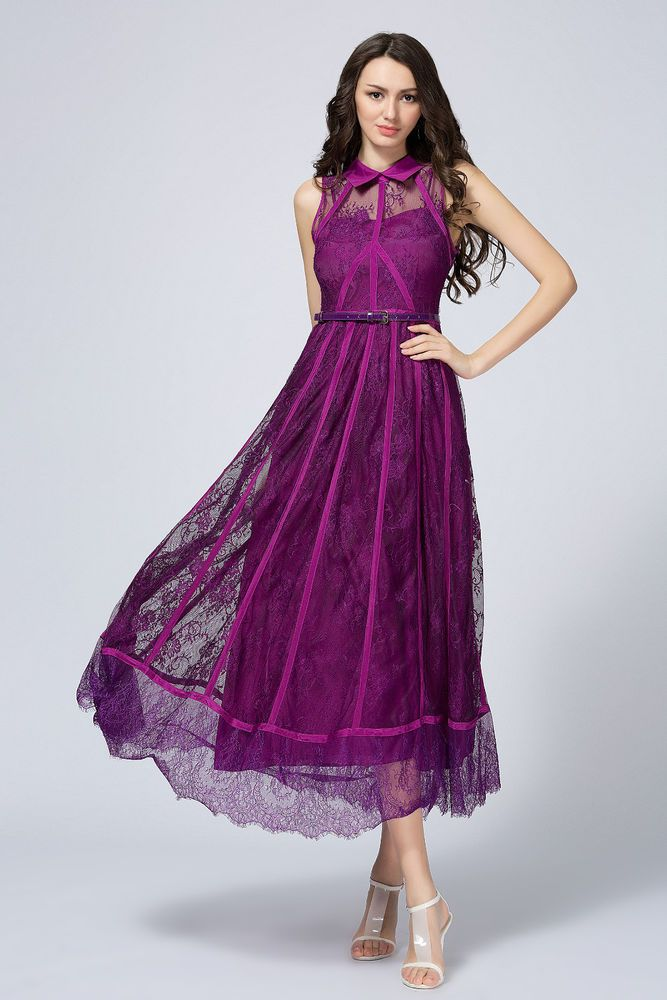 Purple Lace Dress Belted Cut Out Embroidery Long Mesh Dress Shirt Collar Pockets #YI #Casual