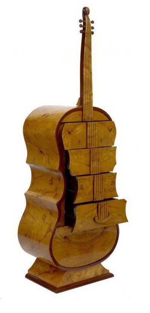 Оригинальные вещи, сделанные из дерева (23 фото) Комод в виде контрабаса