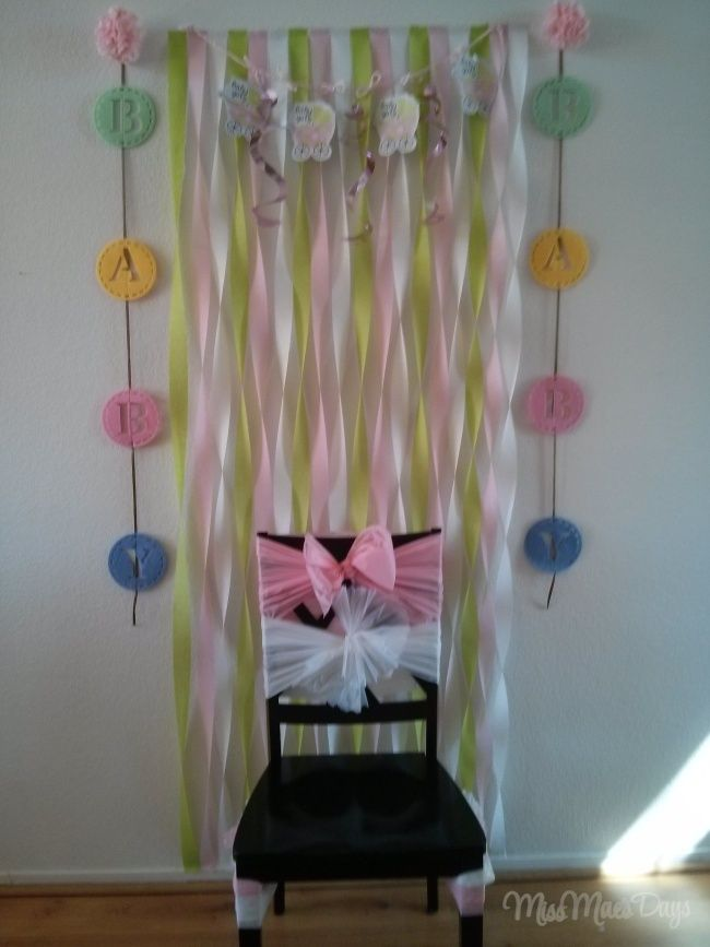 Best 25 streamer wall ideas on pinterest party wall for Baby shower wall decoration ideas