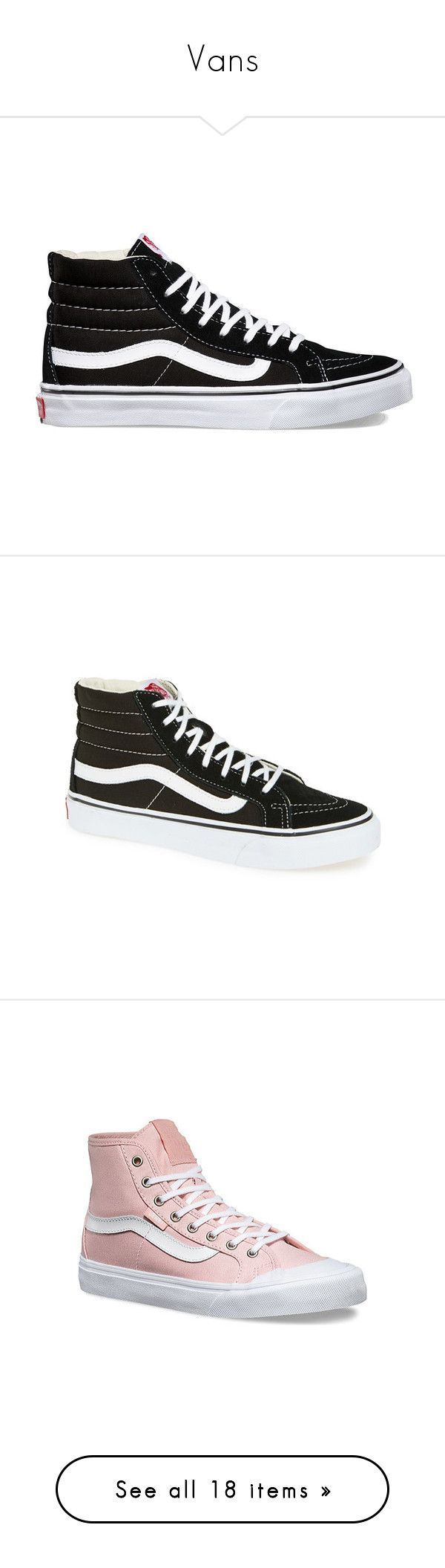 """""""Vans"""" by rayvrayv98 ❤ liked on Polyvore featuring shoes, sneakers, sapatos, black, black hi top sneakers, black high top sneakers, high-top sneakers, black laced shoes, lace up sneakers and black true white"""