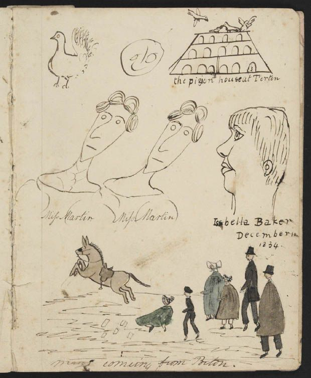 Page of drawings and doodles of people from the diary of Mary Hallen, 1834