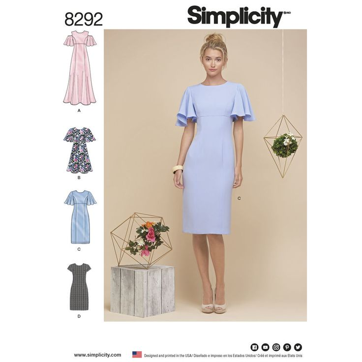 This dress features three different sleeve options, princess seams, invisible back zipper, lined bodice and your choice of either long flare or pencil cut each in two lengths. Simplicity sewing pattern.