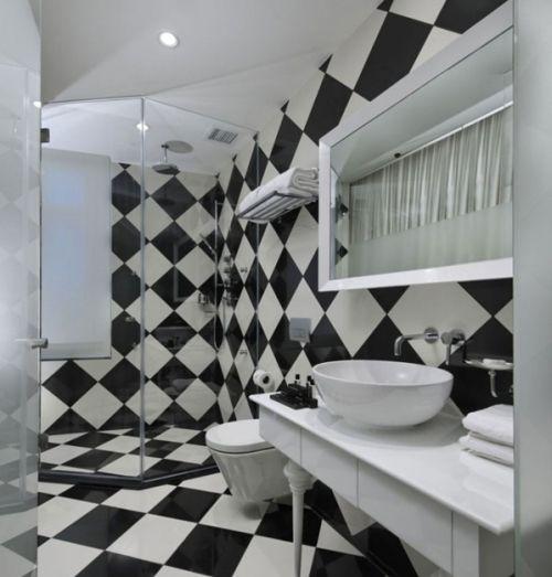 Черный и белый цвет в дизайне ванной комнаты
