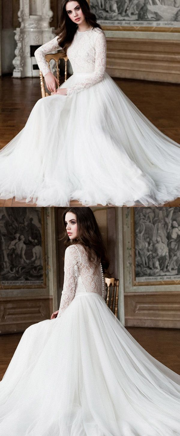 Elegant Tulle & Lace Jewel Neckline A-Line Wedding Dresses With Long Sleeves