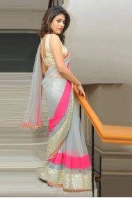 Bollywood Style Shraddha Das Georgette Party Wear Saree In Grey Colour NC4158