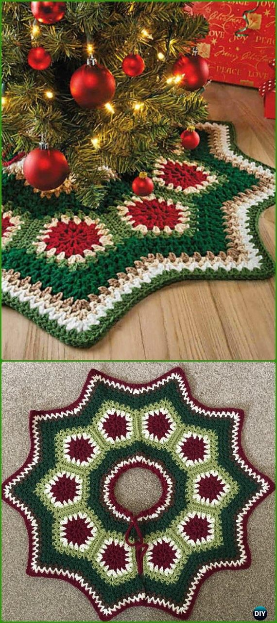 Crochet Granny Ripple Tree Skirt Free Pattern - Crochet Christmas Tree Skirt Free Patterns