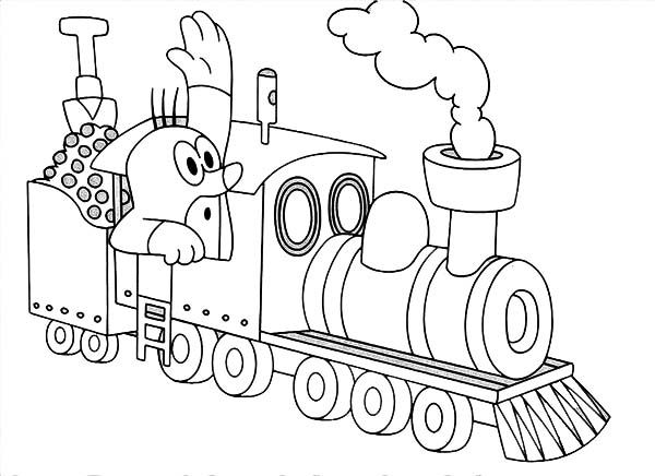 Mole in steam train coloring 600 436 ausmalbild for Mole day coloring pages