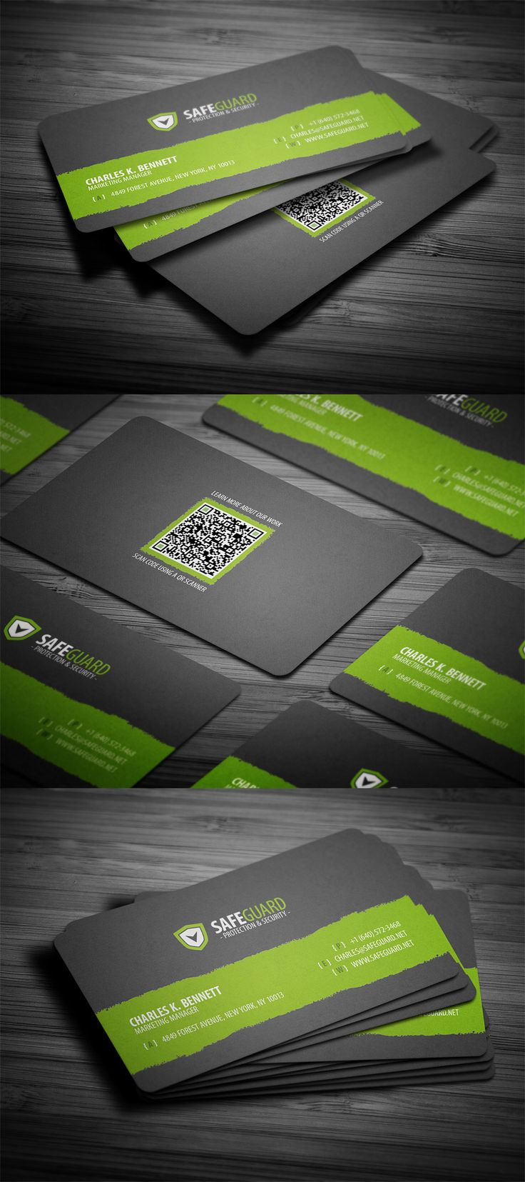 Simple rounded business card template with QR code, available for free download in PSD format with following features: dimensions 3.5 x 2 inches, 300 dpi high resolution, and CMYK color settings.