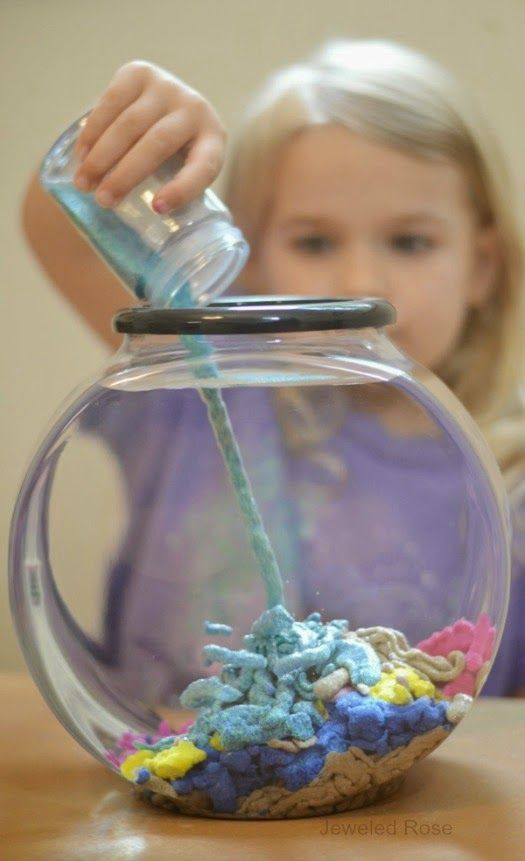 Make your own aqua sand- this stuff is SO COOL!  The sand is waterproof and reacts to liquid in such a unique way, allowing kids to build amazing underwater castles and sculptures.