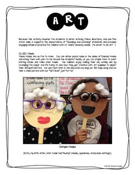 Sample page from:  LET'S CELEBRATE 100 DAYS OF SCHOOL {A FULL DAY OF CURRICULAR ACTIVITIES} - TeachersPayTeachers.com, 31 pages, $