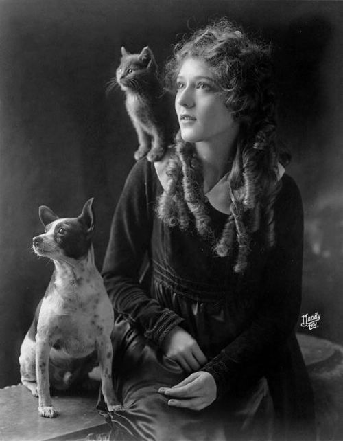Mary Pickford and friends. I want a cat to sit on my shoulder!