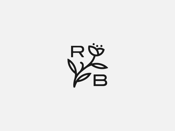 Rogue Blossom Cannabis Farm by Paul Amerson logo design monogram flower typography black and white branding: