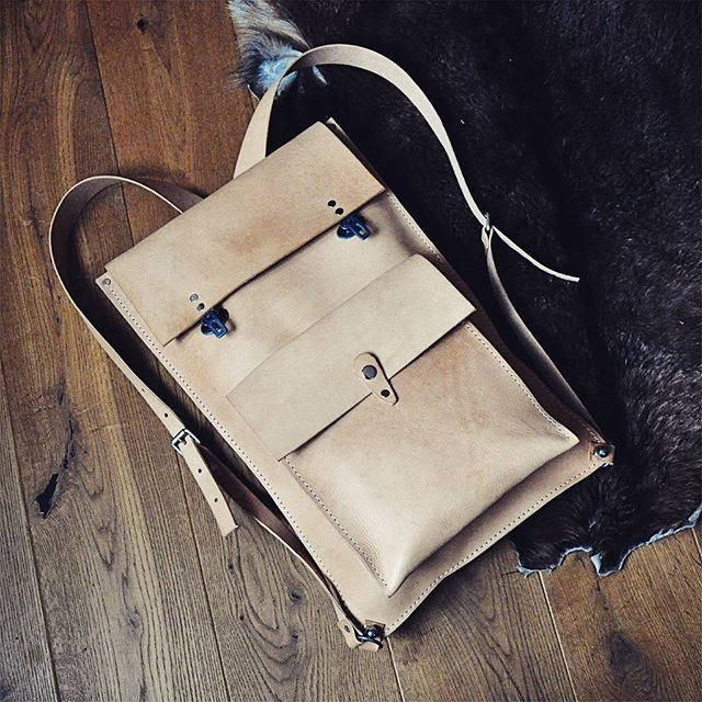Leather city backpack by @burtsevbags