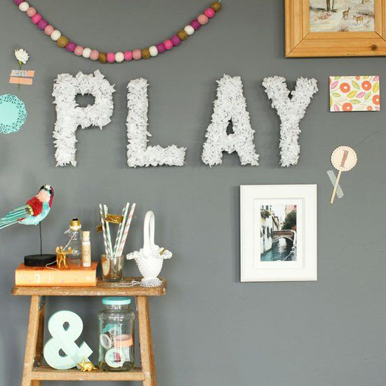 Diy tissue paper wall letters craft gawker 11 paper for Cheap 3d cardboard letters