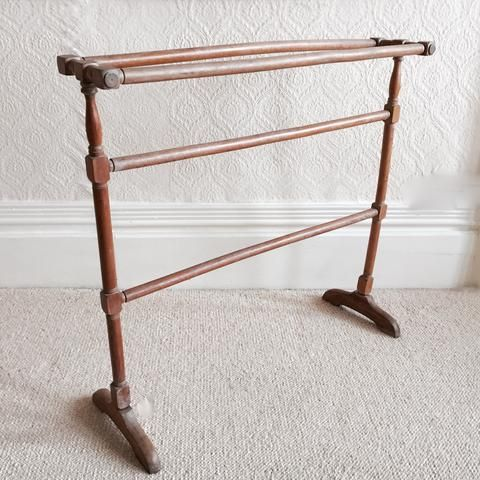 Vintage Antique Victorian Wooden Towel Rail - Porte Serviette Ancien 1900s…