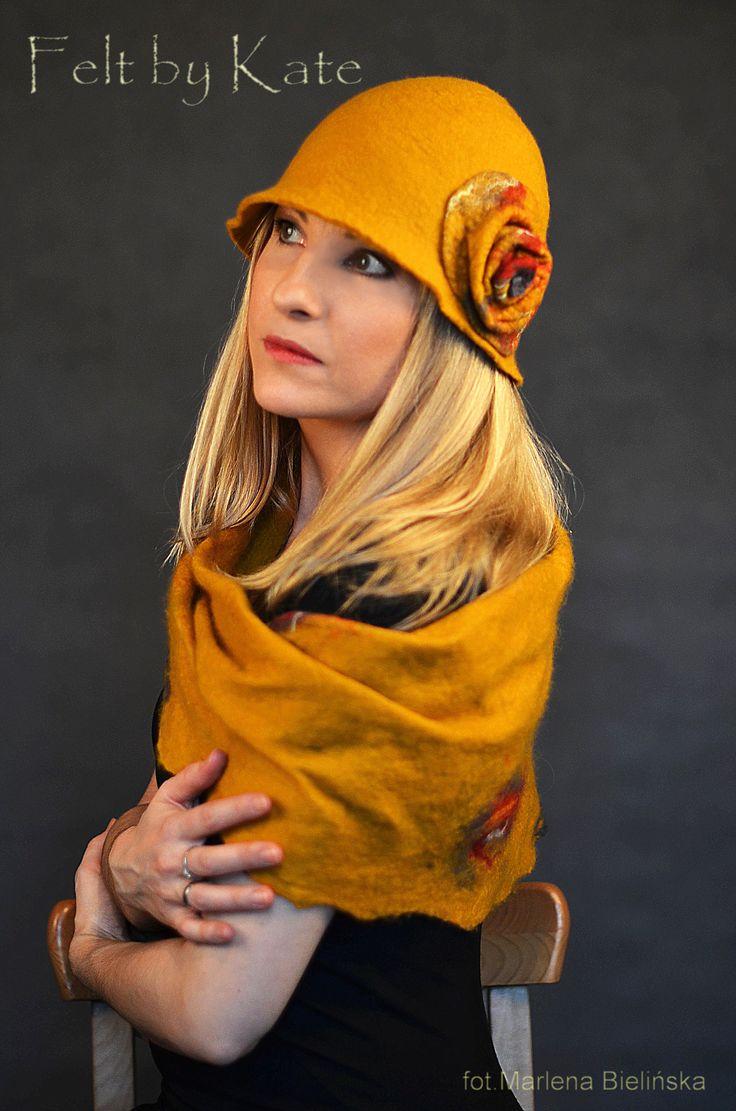 """Merino wool wet felted saffron hat and scarf  by Katarzyna Milczarek """"Felt by Kate""""  https://www.facebook.com/FeltbyKate/"""