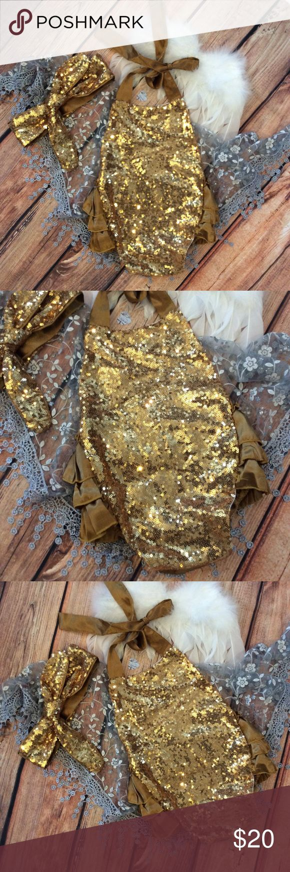 Boutique Baby Girl Gold Sequin & Ruffle Romper Gorgeous Baby Halter style gold sequin and Ruffle Romper. Adjustable silky straps at neck. Includes matching sequin headband. Cute for milestone photos too. One Pieces Bodysuits