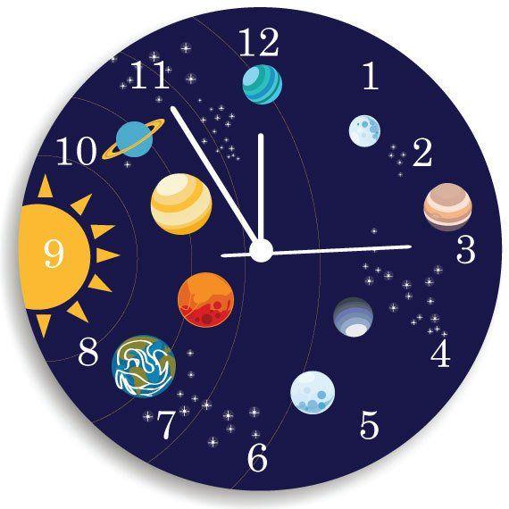 relojes para pared de sala Reloj De Pared Nios Vivero Sala Decor Sistema Solar Reloj
