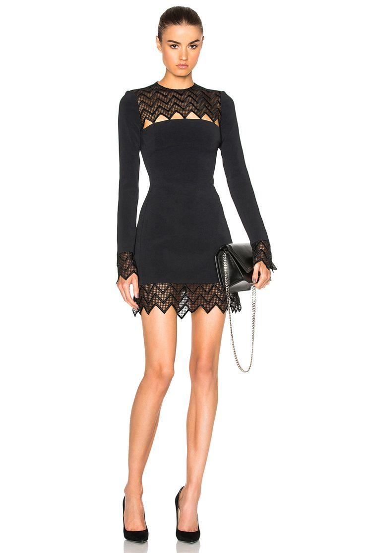 Image 1 of David Koma Zig Zag Macrame Mini Dress in Black
