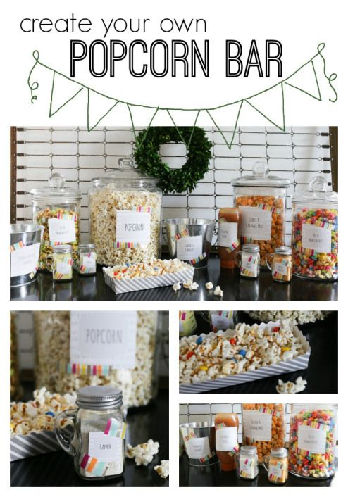 Create your own popcorn bar - with free printables for labeling. Perfect for any size party!