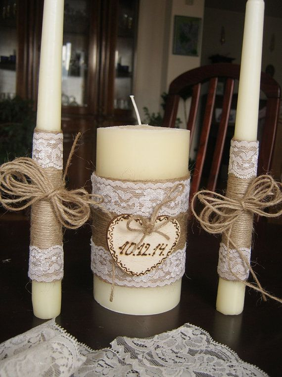 Unity Rustic Wedding Candles Personalized by HenrietteRenee