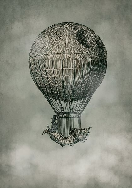 Dark Voyage Art Print - Death Star Hot Air Balloon! $18