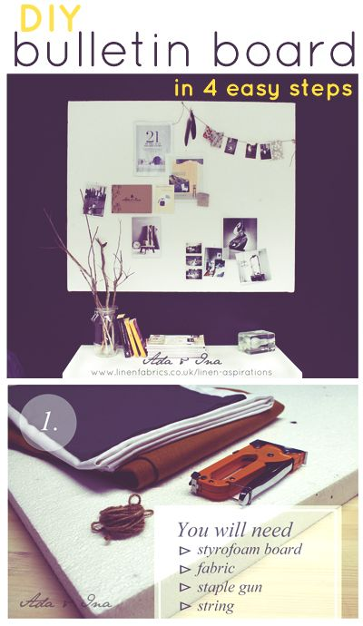 Easy DIY fabric covered bulletin board from Ada & Ina