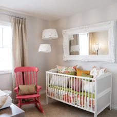 Charming nursery white painted decorative mirror for Above the crib decoration ideas