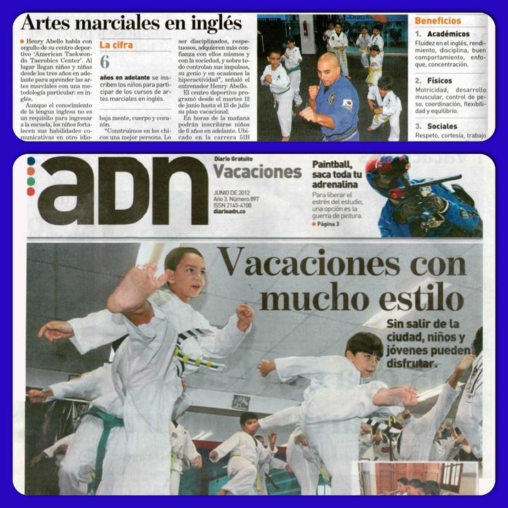 Reportaje especial de vacaciones en el diario ADN de la casa editorial de EL TIEMPO. Campos vacacionalea de taekwondo en inglés para todas las edades.