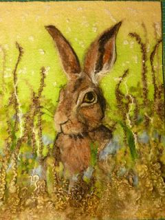 MarmaladeRose. Wet and needle felted hare 'painting'