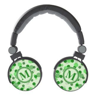 Customizable Green Spots Monogram, Customizable  DJ Style Headphones