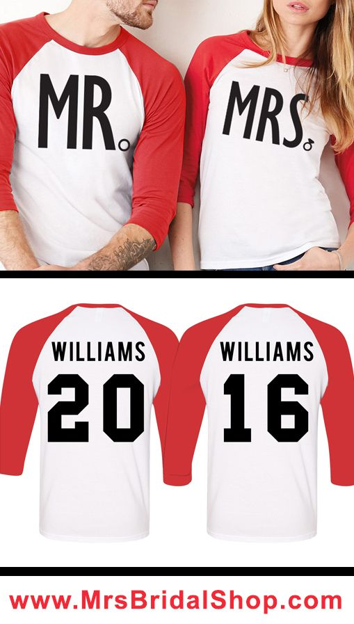 Red Baseball Tees MR & MRS Custom Couples Shirts! Customize the Name and Number to make your own Unique matching shirts! Perfect for the #Honeymoon and after. #Bride #Weddings