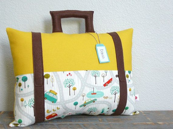 Suitcase Pillow  Travel Theme  Decorative Pillow  by OliveHandmade