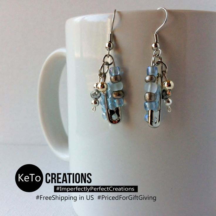 """""""Pin A Cloud"""" by KeTo Creations #HandCrafted #Earrings #SafetyPins #GiftsForHer #ImperfectlyPerfectCreations #FreeShipping in the US #PricedForGiftGiving #JustOpenedOurStore #ShopLikeWeHave5StarRating #WeShipASAP #PinNowViewLater"""