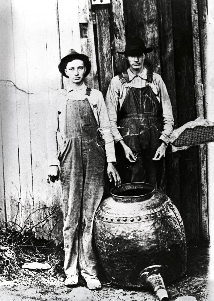 Charlie and Willie Hall with their moonshine still Clay County, Tennessee, ca…